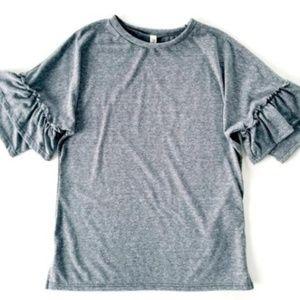 Other - Charcoal Ruffle Sleeve Top